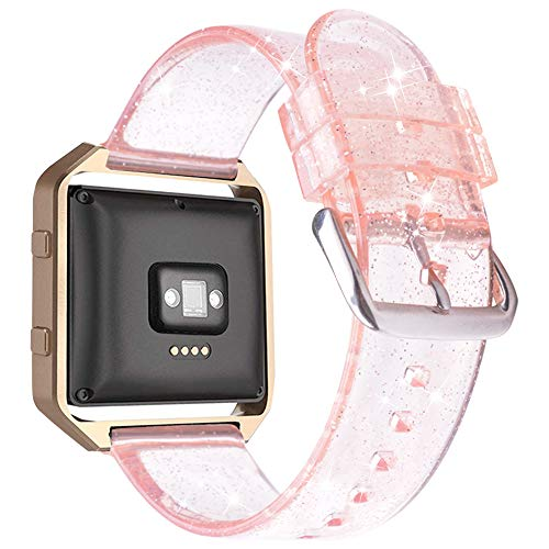 iiteeology for Fitbit Blaze Band, Frame Housing + Clear Glitter TPU Soft Accessory Small Large Band for Fitbit Blaze Fitness Watch Band Women - Band Pink/Silver + Frame Rose Gold