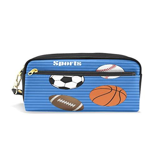 Bolas de deporte portátil de cuero de la PU estuche de lápices de la escuela bolsas de papelería bolsa de gran capacidad maquillaje bolsa de cosméticos
