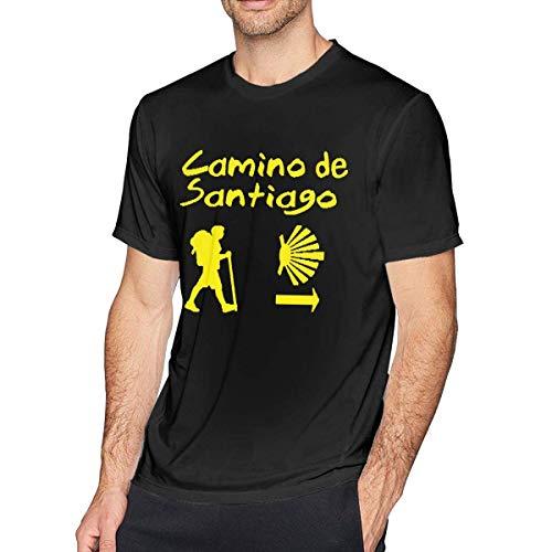 Thimd Camino De Santiago Compostela - Camiseta de manga corta para hombre Negro Negro ( L