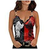 Wirziis Summer Womens Sexy Tank Top Casual Fashion Sleeveless Rose Print Tunic Top Ladies Comfy Soft Slim Chain Vest Shirt