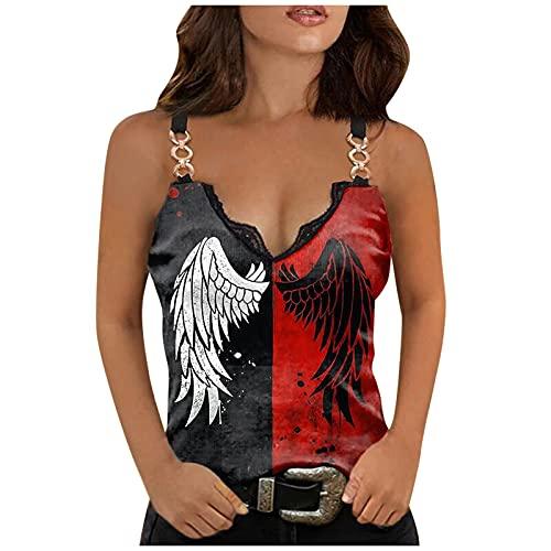 Camiseta de tirantes para mujer, de verano, sin mangas, moderna, informal, cuello...