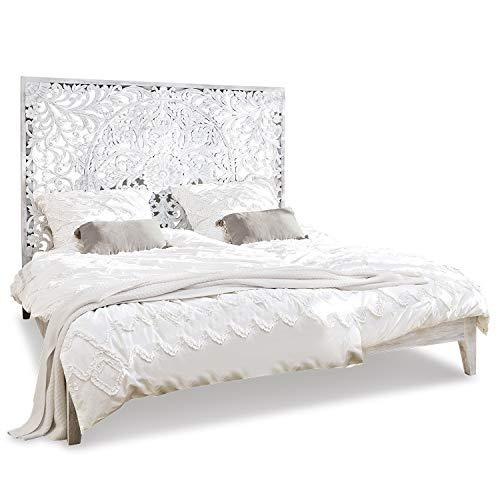 Loberon Bett Drôme, Mangoholz, H/B/T ca. 150/210 / 185 cm, antikweiß