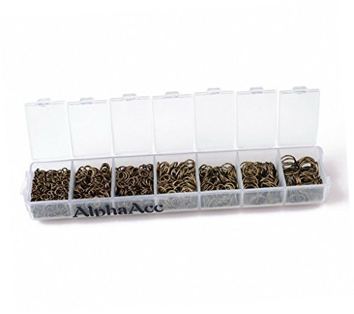 AlphaAcc 1510 Antique Bronzed Jump Rings 4mm to 9mm with Plastic Container by AlphaAcc