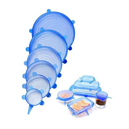 Kit de Tampas Tampa Tudo Ecológicas Silicone (6 Un) Azul Ekological