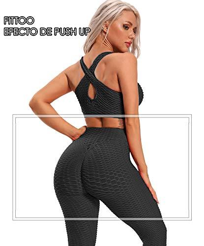 FITTOO Leggings Push Up Mujer Mallas Pantalones Deportivos Alta Cintura Elásticos Yoga FitnessNegroS