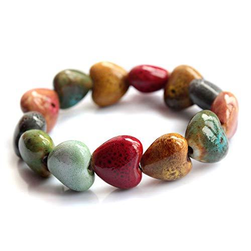 Leisial Pulsera Ceramica Brazalete Cuentas Cuentas de Piedra Colores Estilo Bohemio Accesorios de la Joyería Ajustable