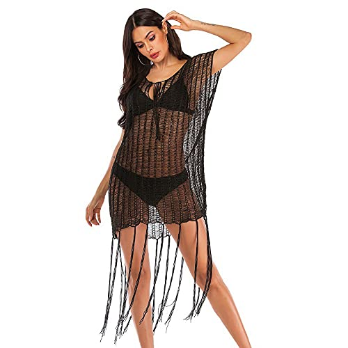XUANYA Blusa Bikini,Crochet Negro Knitted Beach Larga Perspectiva De Borlas Bikinis Tapar Vestido Túnica Tapar Verano Elegante Swim Cover Up Beachwear Regalo Creativo,Negro,L
