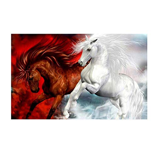 Allywit Jigsaw Puzzle 1000 Pieces for Adults Children, White Red Horse - Puzzle Intellective Entertainment DIY Toys Reduced Pressure Toy Learning Games Cooperative Games for Creative GIF (A)