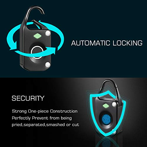 Fingerprint Lock Padlock Smart Keyless Biometric Lock Portable USB Charging Security Lock for Suitcase, Backpack, Golf Bag, Luggage