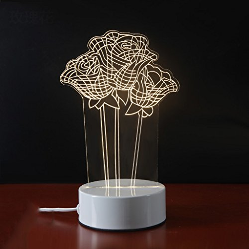 Lampe de table 3D Lampe de chevet Chambre Tridimensionnelle lumière de nuit dimensionnelle (style : A)