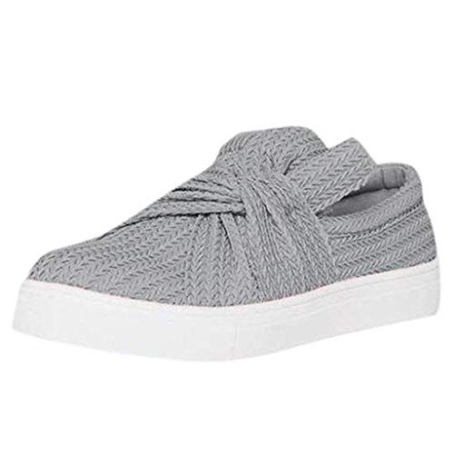 Women's Fashion Sneakers Canvas Flats Casual Low Top Loafers Comfort Walking Slip On Shoes (Gray -2, 8.5)