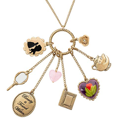 Disney Danielle Nicole Antique Worn Gold Tone Beauty and The Beast Charm Necklace, 30 Inch Chain with 3 Inch Extender