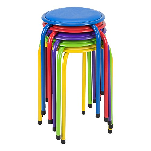 Fat Catalog ALT1102ACSO Metal Stack Stools with Padded Seat, Red/Purple/Blue/Green/Yellow (Pack of 5)