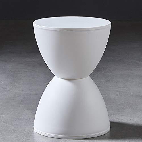 CUIS- Sanduhr-Plastikhocker, lässiger minimalistischer Dicker Hocker, Schuhbank, Wohnzimmer Schlafzimmer Badezimmer (Color : White)