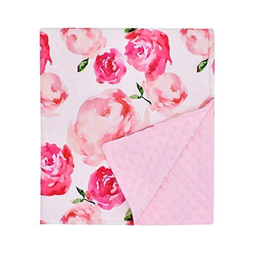 Ruiqas Baby deken Baby kinderwagen deken dubbele laag gestippelde rug Ultra zachte deken ontvangen deken (roze) Roos