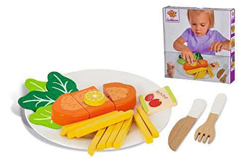 Eichhorn 100003741 Schnitzelset Zubehör 3 Schnitzel mit Zitrone, Pommes und Ketchup aus Holz, Salat aus Filz, Teller aus Kunststoff, 22 teilig, ab DREI Jahren