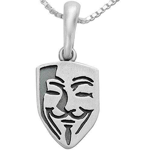 Vendetta Maske Anonymous Silberschmuck Kettenanhänger Guy Fawkes aus massivem 925 Sterling Silber #1741