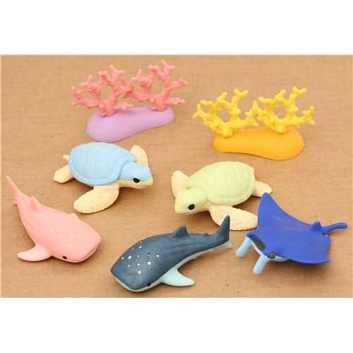 Set de 7 gommes Iwako avec des animaux marins pour aquarium