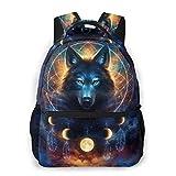 Fashion Backpack for Girls Boys Dream Catcher Wolf Print Cute School Bag Bookbag Daypack