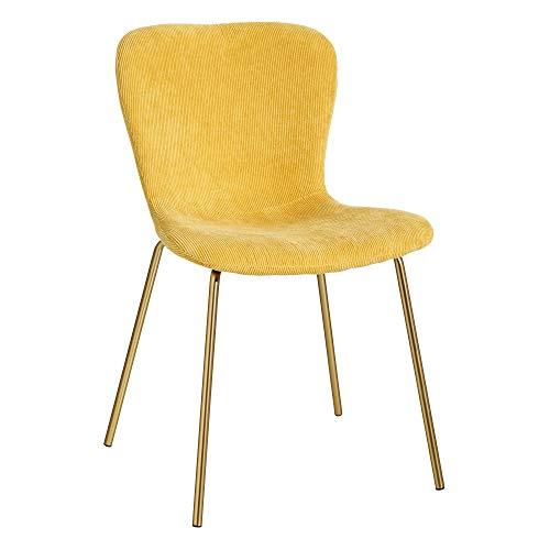 LOLAhome - Sedia da Pranzo Vintage in Velluto di Colore Giallo, 46 x 56 x 77 cm