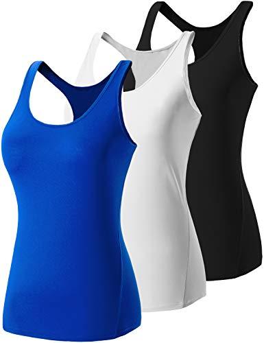 Lavento Women's Tank Tops Racerback Workout Yoga Sleeveless Shirts (Large,3 Pack-Black/White/Blue)
