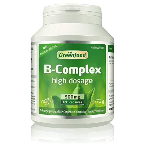 Greenfood B-complex 50, hoog gedoseerd, 120 capsules - alle vitaminen uit de B-groep. Voor een helder hoofd (B5), meer energie (B12) en mooie huid en haren (B7). ZONDER kunstmatige toevoegingen. Zonder gentechniek. Vegan.