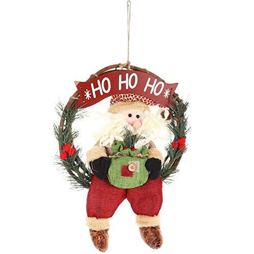 Wakauto Guirlanda de Natal para a Porta da Frente Guirlanda de Natal Artificial Enfeites de Natal Natal Feriado Decorações de Inverno