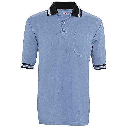 ADAMS USA Short Sleeve Baseball Umpire Shirt - Sized for Chest Protector, Columbia Blue , Medium