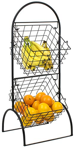 Sorbus 2 Tier Wire Market Basket Storage Stand For Fruit Vegetables Toiletries Household Items Stylish Tiered Serving Stand Baskets For Kitchen Bathroom Organization 2 Tier Basket Black Buy Online In French Polynesia
