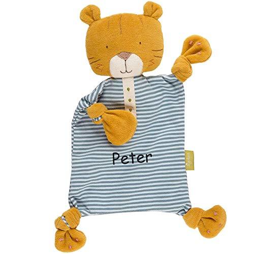 Sigikid Schnuffeltuch Tiger mit Namen Bestickt, Baby & Kinder Schmusetuch personalisiert, Kuscheltuch Geschenkidee Junge, Green Bio, Blau Orange, 39187