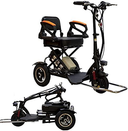 CHNG Silla de Ruedas Ligera Ciclomotor eléctrico Compacto Mini Triciclo eléctrico Scooter eléctrico Plegable portátil Vehículo eléctrico de Litio 48 V Puede durar 60 kilómetros con pasamanos de s