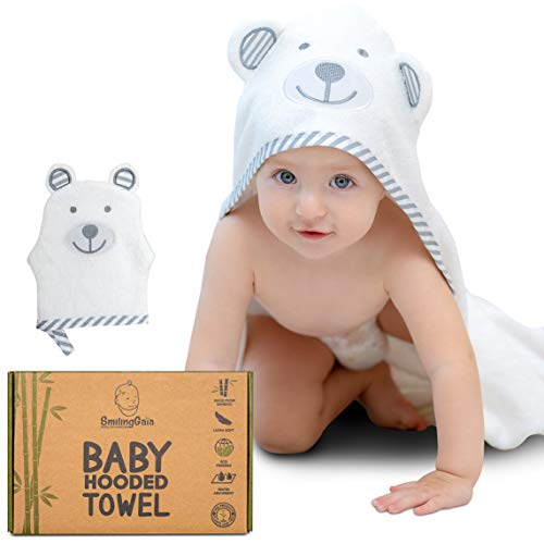 Bamboo Baby Towel - XL Hooded Baby Bath Towel - Complete Set with Bath Mitt - Works Great as Newborn Towels or Infant Towel - Perfect for Baby Registry & Gift - Natural Towel for Boys & Girls