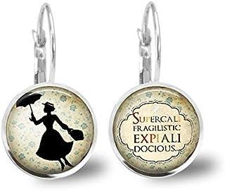 """Pendientes cabochon""""Mary poppins"""", Regalo de Navidad para regalo mujer - San Valentín- regalo de cumpleaños - plata antigu..."""