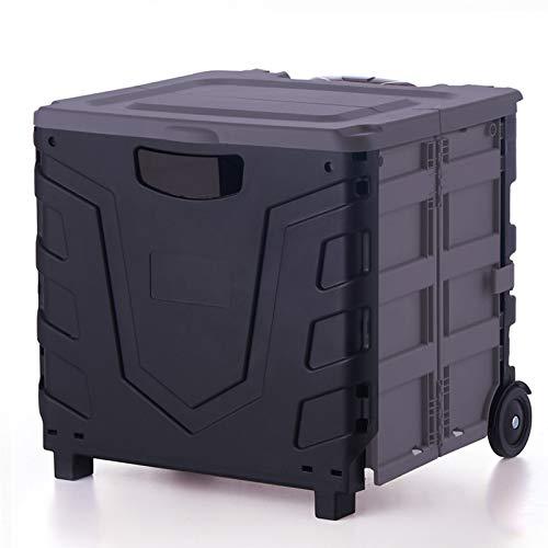 ZQ&QY Carro De Utilidad Plegable De Plástico con Mango Telescópico,Carro De Mano Plegable De La Caja De La Liar para Viajar Comprando Equipaje Móvil-Negro 39x35x37cm