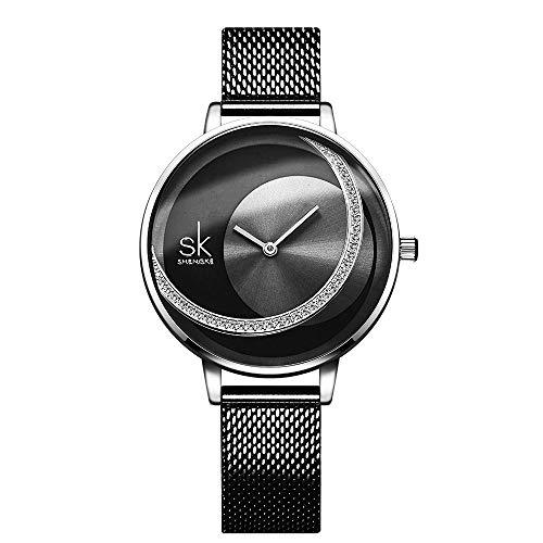 SHENGKE Armbanduhr Damen Edelstahl Einzigartiges Design Quarz Wasserdicht Armbanduhr Mädchen