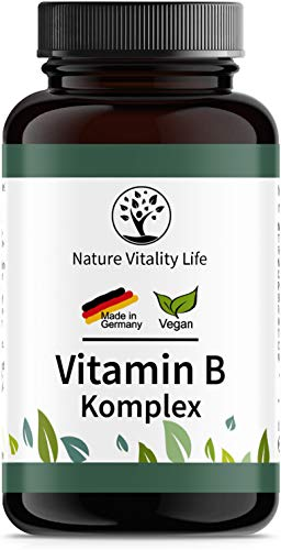 Vitamin B Komplex Kapseln - Vorratspackung für 6 Monate - Mit bio-aktiven Formen & Cofaktoren - Laborgeprüft, hochdosiert, vegan – Hergestellt in Deutschland