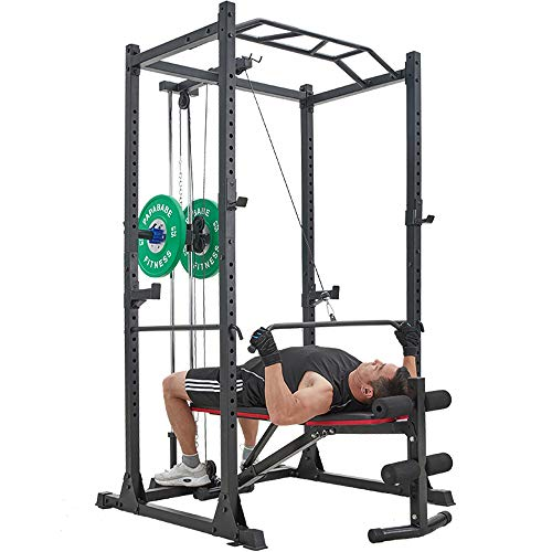 PAPABABE Weight Bench, Adjustable Strength Training Bench with Wider Backrest for Full Body Workout