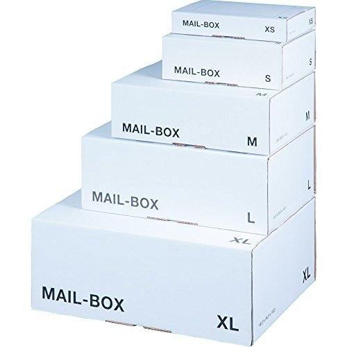 karton-billiger Mail-Box Versandschachtel, XS, S, M, L, XL in 3 Farben, 20Stück (S - 249x175x79mm, weiß)