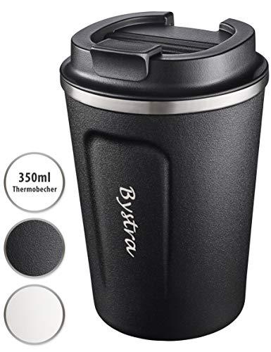 BYSTRA Thermobecher – Kaffeebecher to go 100% Auslaufsicher – Isolierbecher 350ml – Trinkbecher doppeltwand Isolierung – Travel Mug – Teebecher – Reisebecher BPA-Frei – schwarz