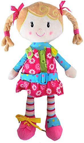 Sugar Snap Plush Learn to Dress Montessori Toy Doll for Toddlers - 15' - Zipper, Snaps, Buttons, Buckle and Shoe Tying Practice - Montessori Toy for 2 3 4 5 Year Old