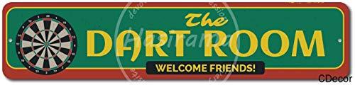 CDecor The Dart Room Welcome Friends Blechschilder, Metall Poster, Retro Warnschild Schilder Blech Blechschild Malerei Wanddekoration Bar Geschäft Cafe Garage