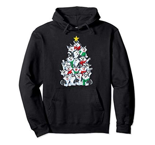 Siberian Husky Árbol de Navidad Luces de Santa Xmas Regalos Sudadera con Capucha