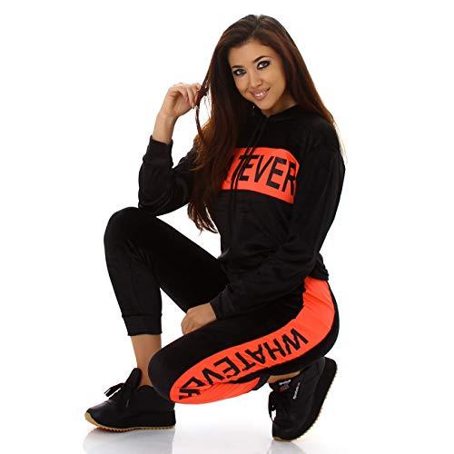 Damen Sexy Jogging Anzug Samt-Look Jogginganzug Trainingsanzug Sportanzug (Apricot, L/XL)