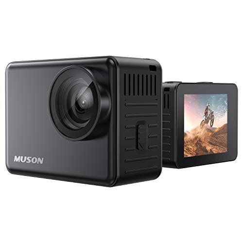 【本機防水10M】MUSON(ムソン) アクションカメラ 4K 60FPS 20MP 高画質 手ブレ補正 wifi搭載 170度広角レンズ 1350mAhバッテリー2個 リモコン付き 2インチ液晶画面 HDMI出力 水中カメラ バイクカメラ スポーツカメラ ウェブカメラ 豊富なアクセサリー アクションカム [メーカー1年保証]