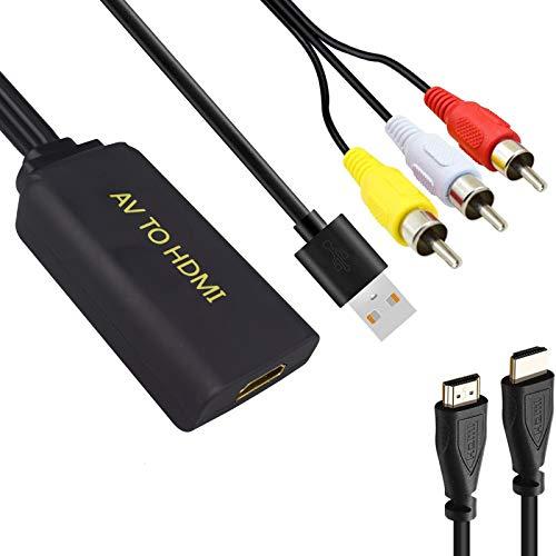 RCA a HDMI Adaptador, 1080P AV a HDMI Convertidor de Video con Cable HDMI y 3RCA para PC/Laptop/ PS4 / PS3 / TV/STB/VHS/VCR Cámara DVD