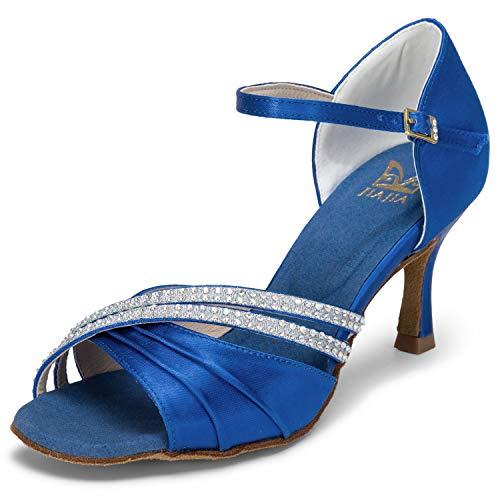 JIA JIA 20524 Damen Sandalen Ausgestelltes Heel Super-Satin Latein Strass Tanzschuhe Farbe Blau,Größe 37 EU