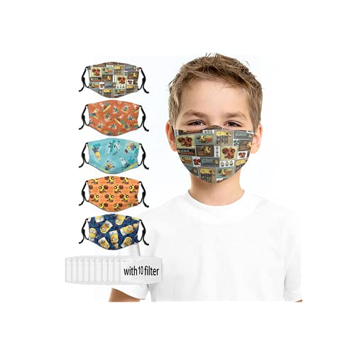 Reusable Mouth Cover Washable Masks Adjustable Face Mask Black 5PC with 10 Filters Design for Kids Boys Girls Childrens Designs Balaclava Mini-ons Desp-icable Me Cartoon