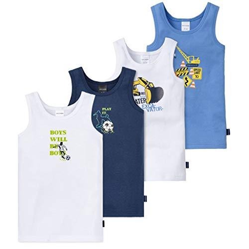 Schiesser - Kids Boys - Unterhemd - 4er Spar-Pack (92 Blau/Weiß - Fußball und Bagger Motiv)