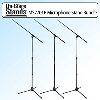 On Stage MS7701B Euro Boom Microphone Stand Black Outfit Of 3