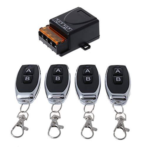 LessLIFE Control Remoto, 1Set 433MHz 2CH RF Control Remoto AC 85-250V Transmisor Receptor para Puerta de luz-4 mandos a Distancia